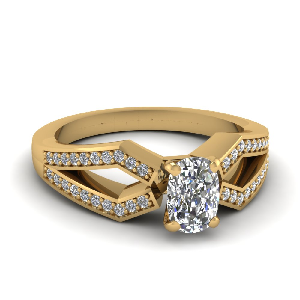 Cushion Cut Diamond Engagement Rings With White Diamonds In 14k Yellow Gold