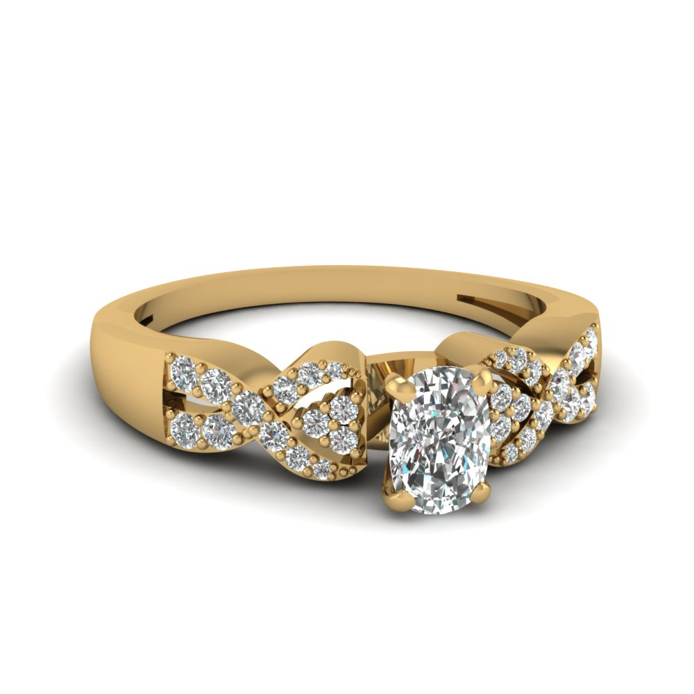 Cushion Cut Diamond With Side Stone Gold Engagement Ring