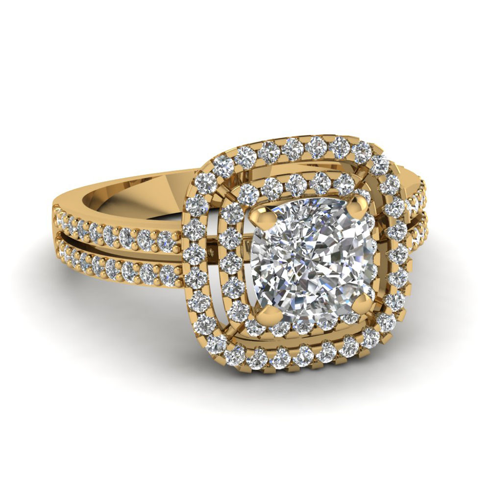 Square Double Halo Cushion Diamond Ring
