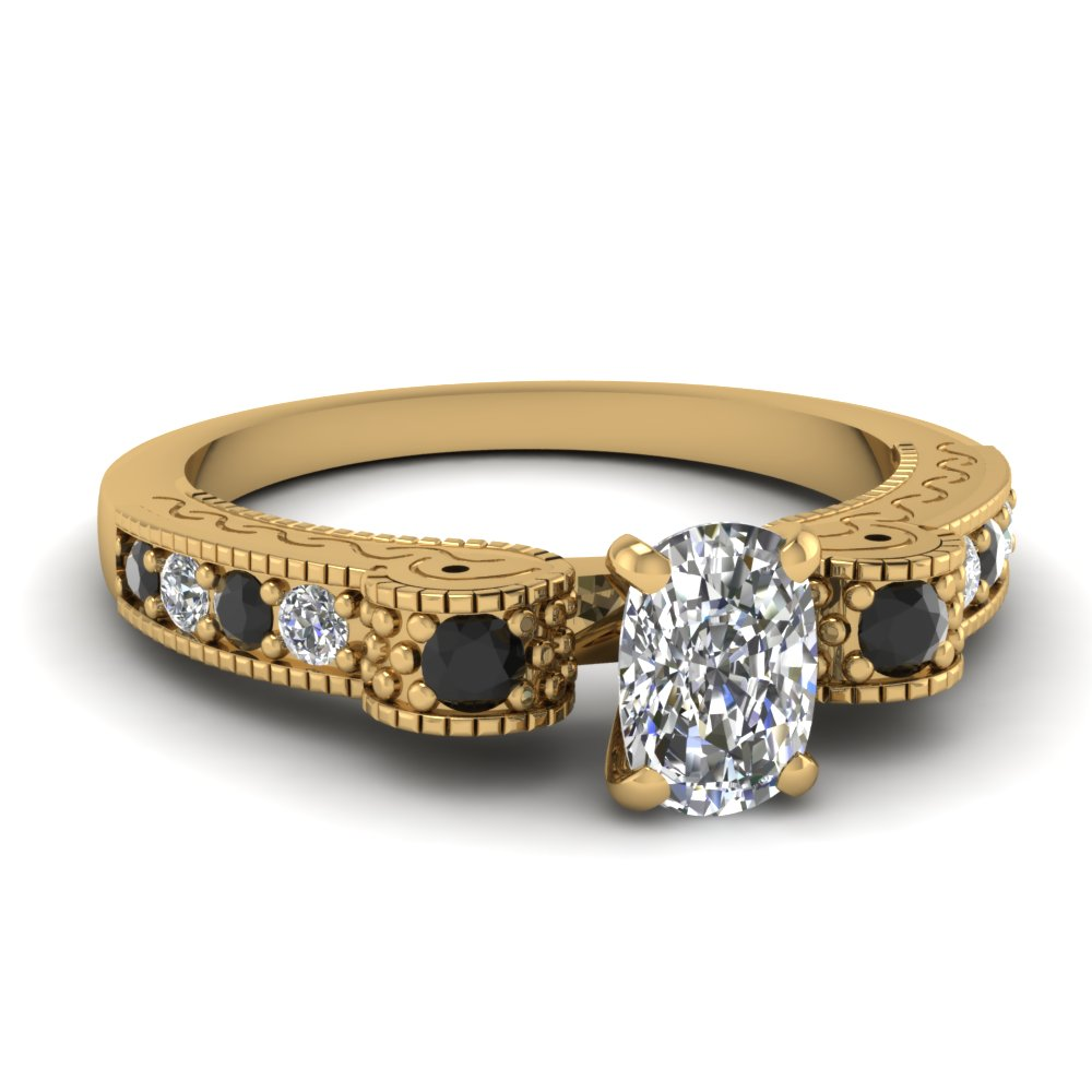 Milgrain 18k Yellow Gold Side Stone Engagement Ring