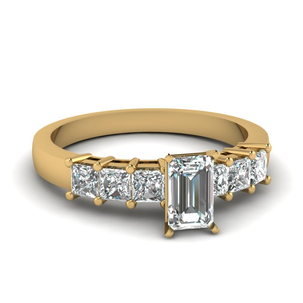 Yellow Gold Emerald Cut Sparkle Diamond Engagement Ring