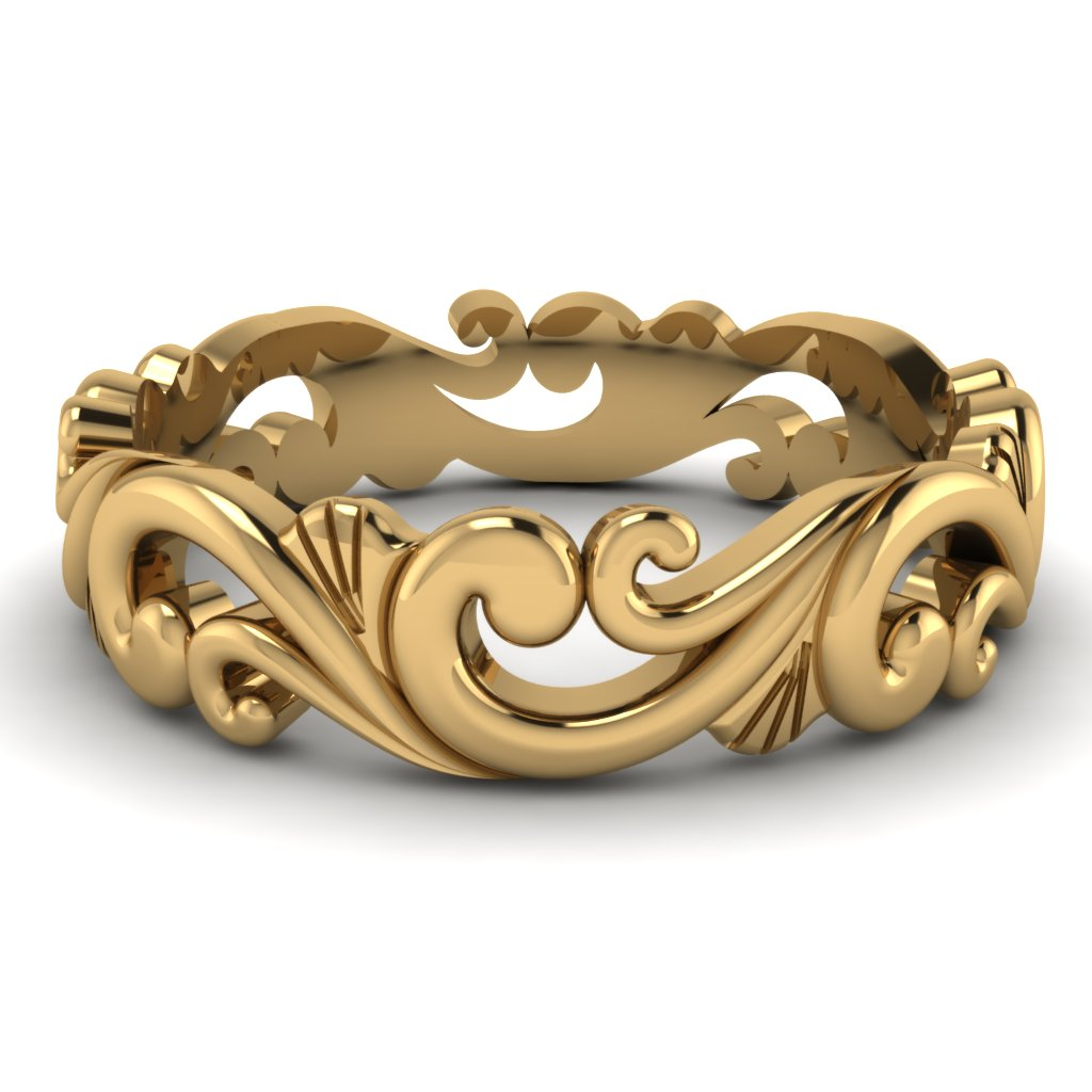 Yellow Gold filigree mens wedding band