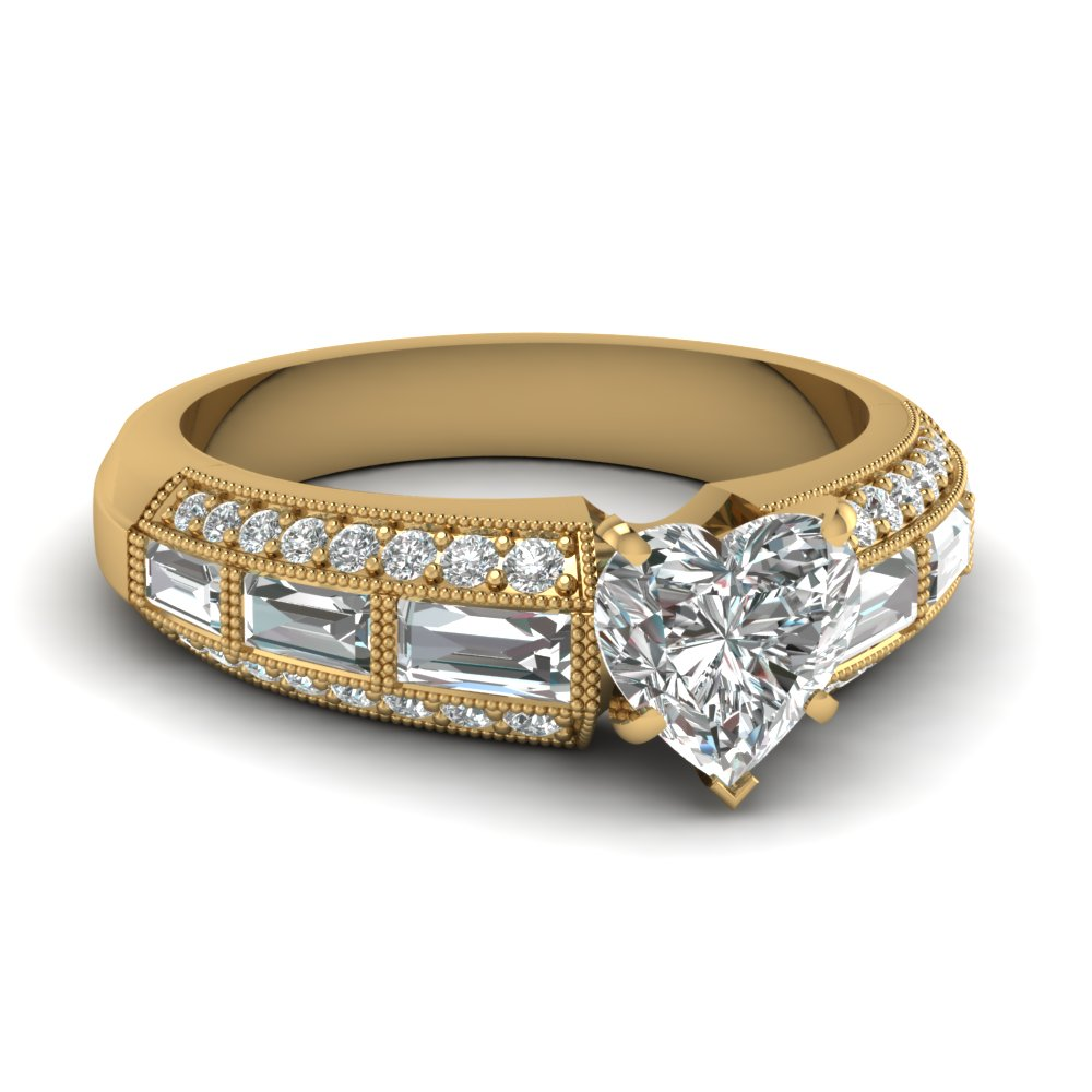 Heart Shaped Yellow Gold Unique Engagement Ring