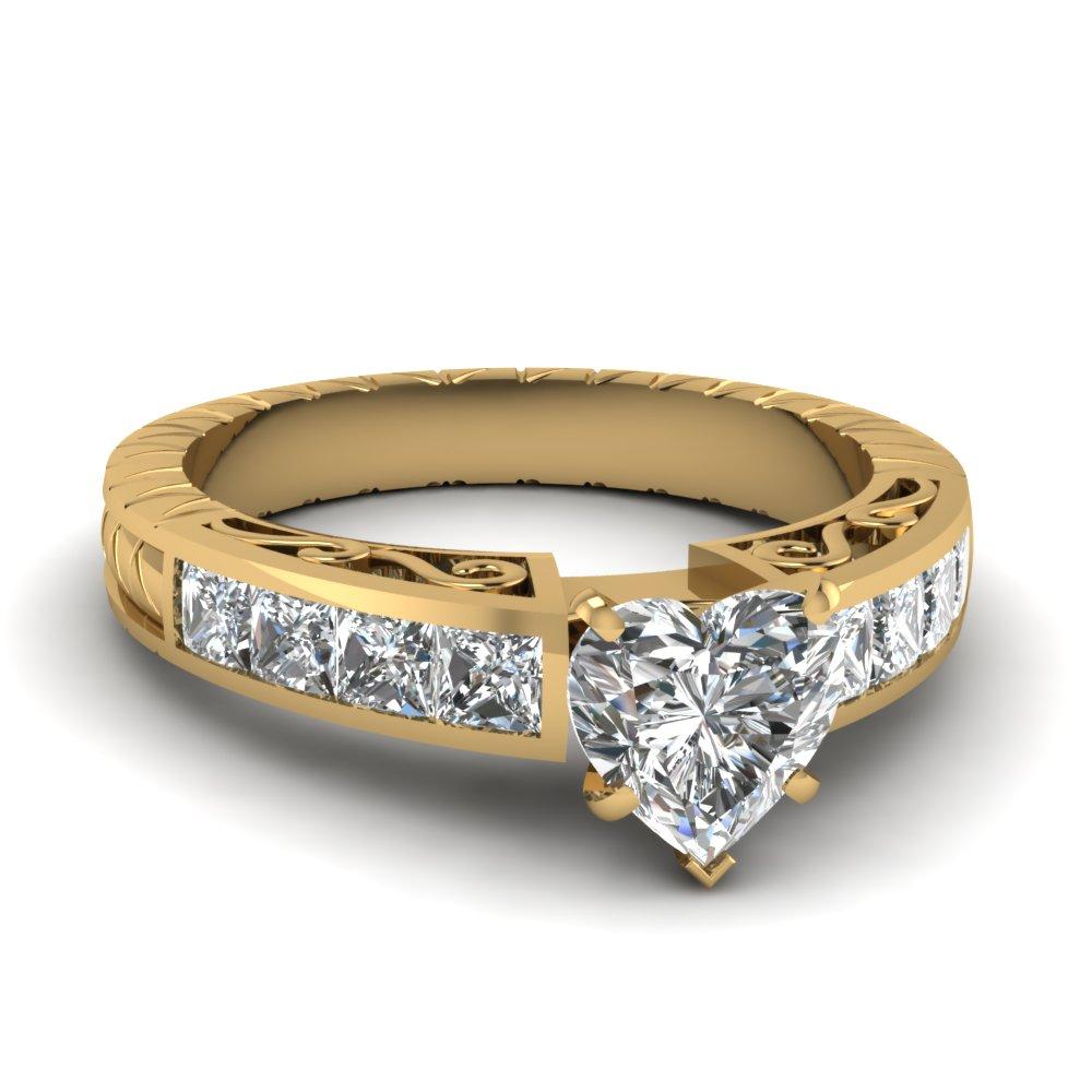 Yellow Gold Heart Shaped Diamond Ring