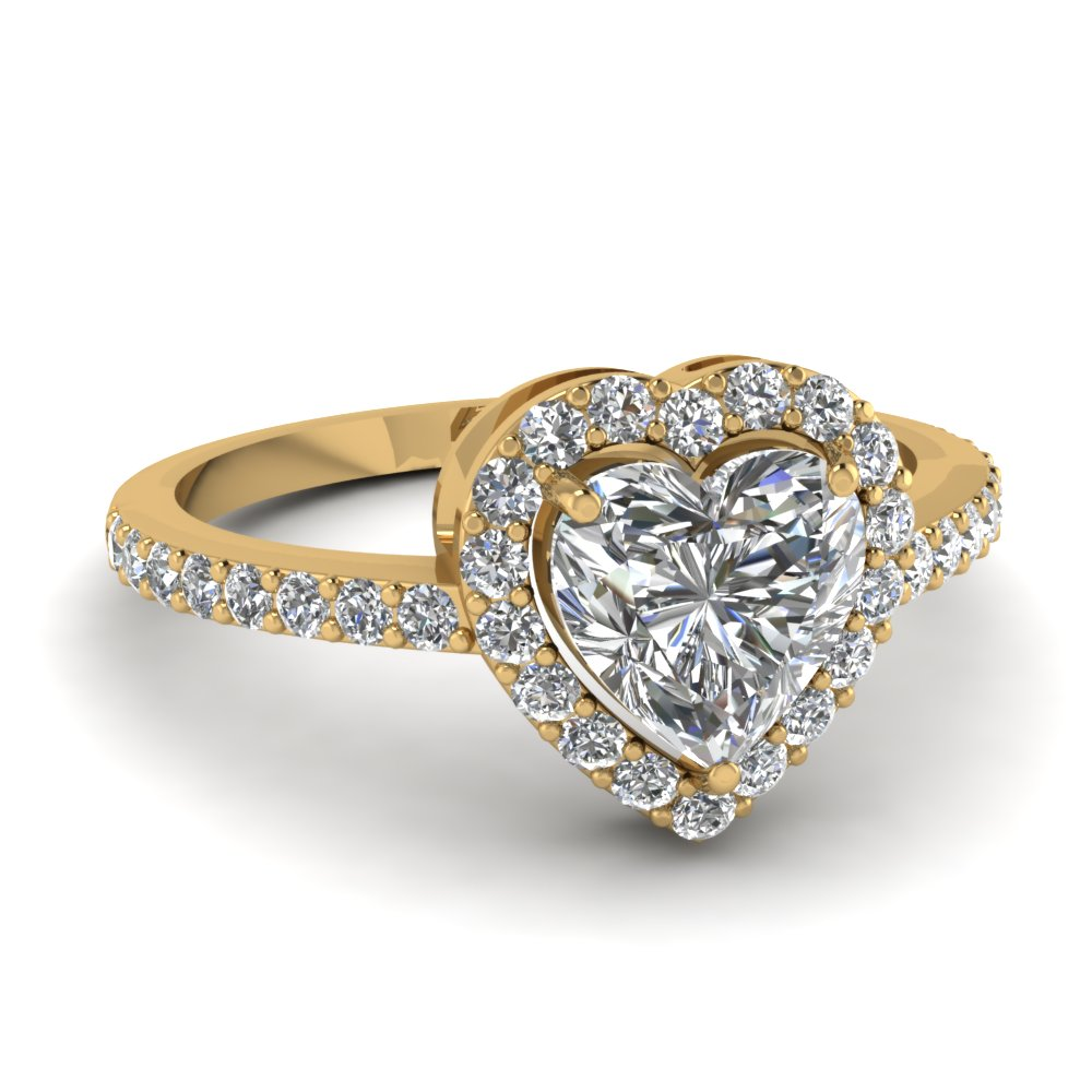 Yellow Gold Heart White Diamond Engagement Wedding Ring In Prong Set
