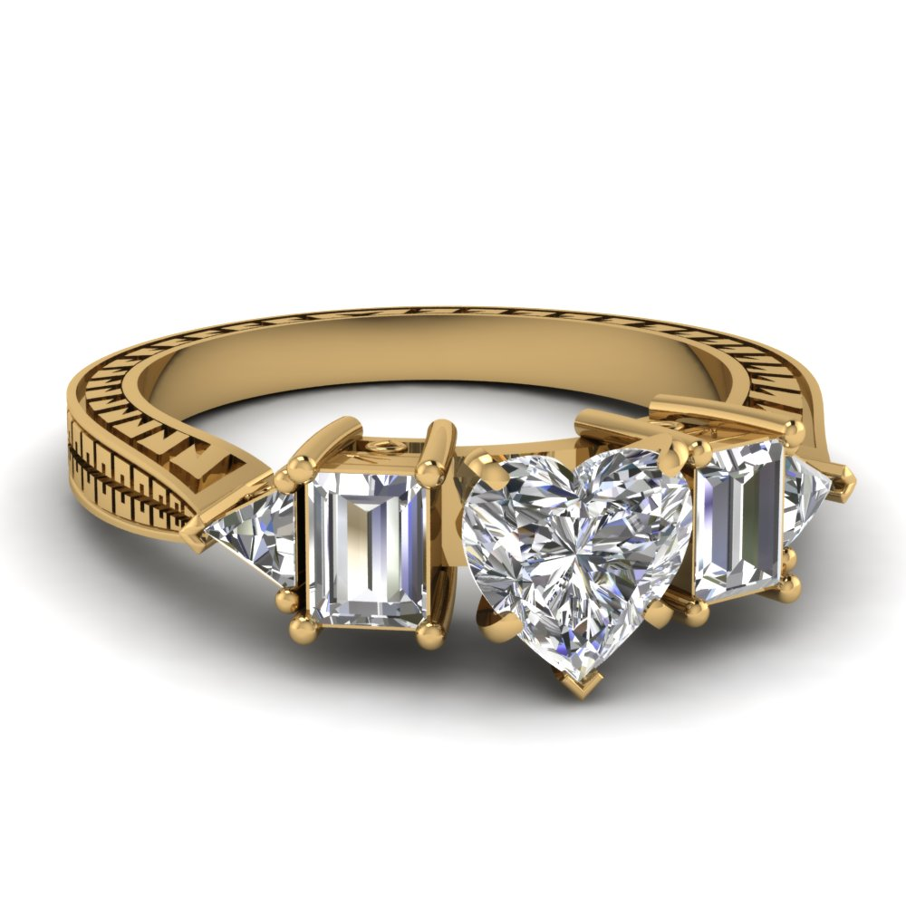 Antique Inspired Yellow Gold Heart Shaped Diamond Engagement Ring