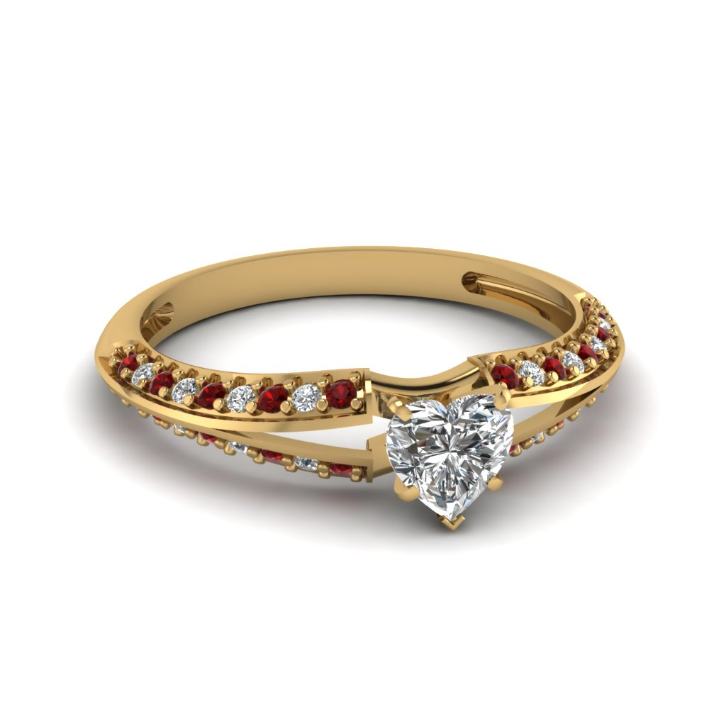 Pave Set Heart Shaped Engagement Ring With Round Ruby