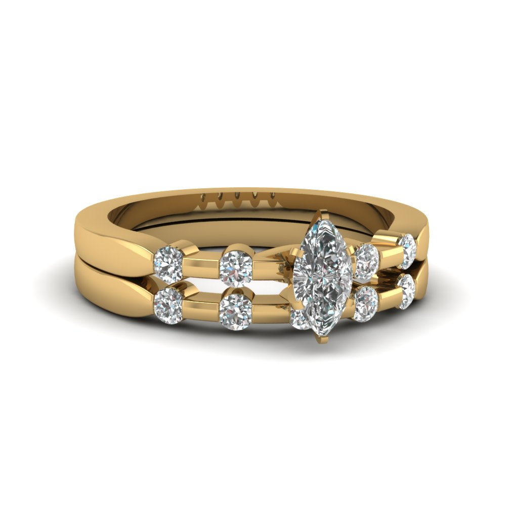 Half Bezel Wedding Ring Set