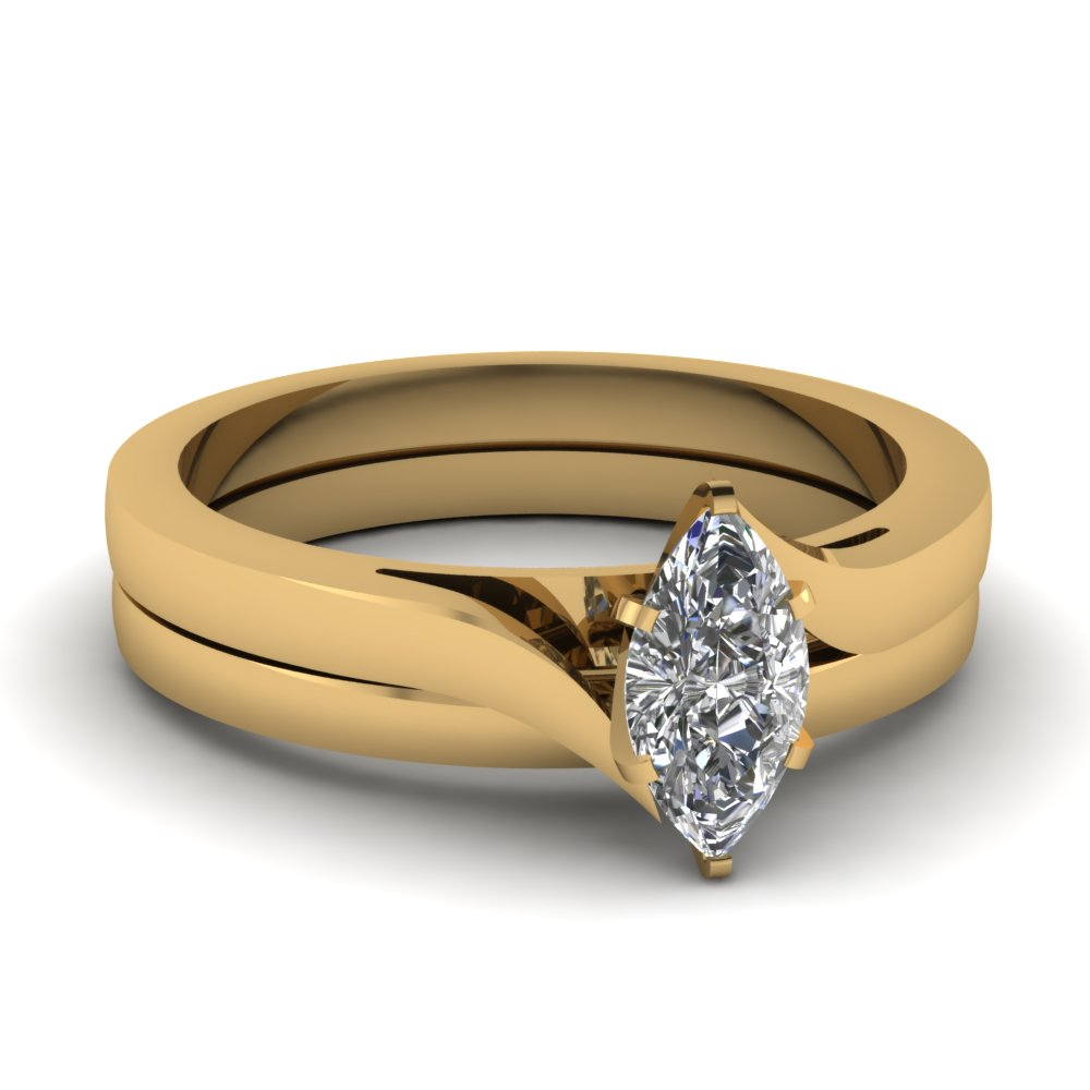Marquise Shaped Diamond Wedding Sets In 18k Yellow Gold Serenity Set Fasc