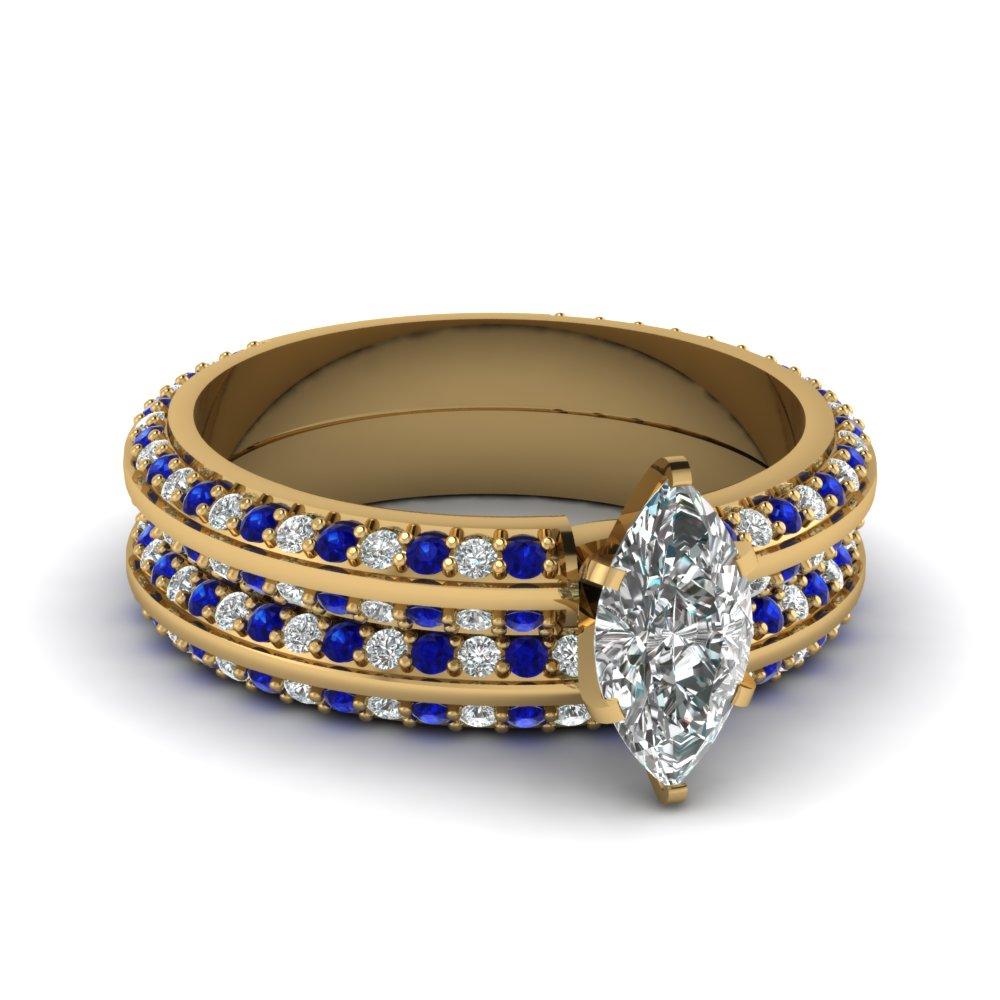 Diamond And Sapphire Wedding Ring Sets