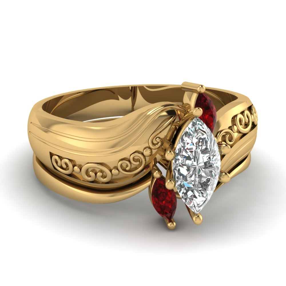 Twisted Unique Marquise Cut Diamond and Ruby Gold Bridal Ring Sets in Yellow Gold