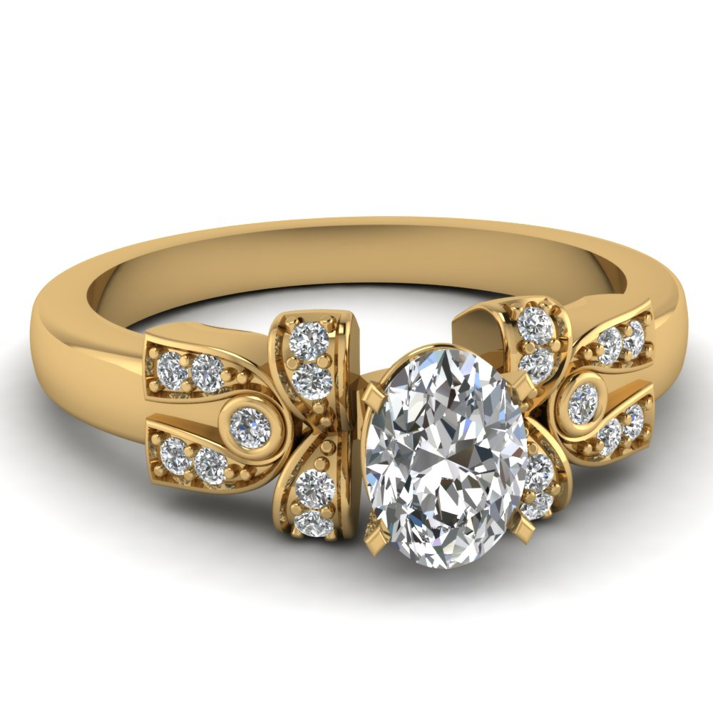 Antique Pave And Bezel Set Diamond Engagement Ring in Yellow Gold
