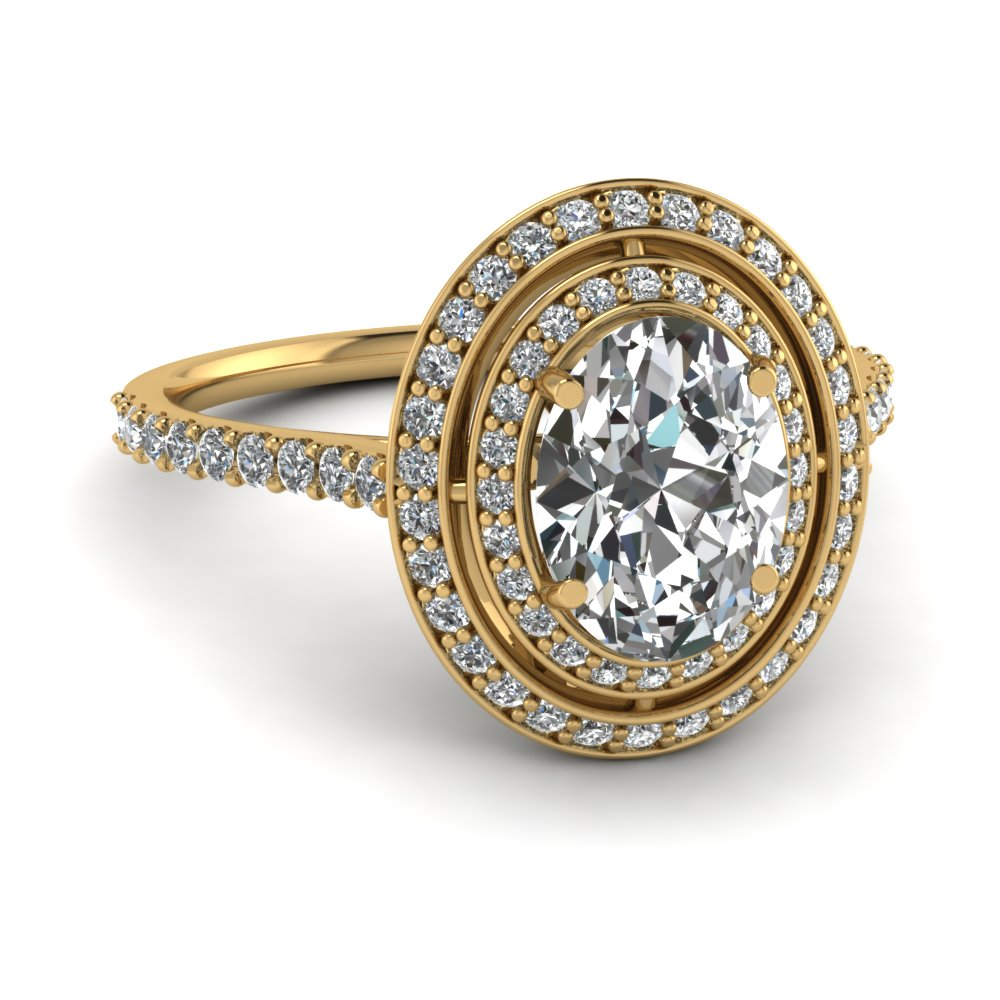 Pave Set Oval Shaped Double Halo Engagement Ring