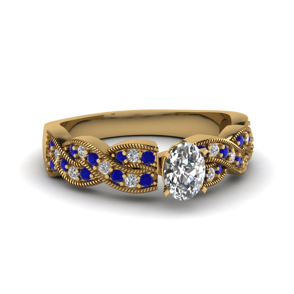 Infinity Twist Oval Diamond and Sapphire Engagement Ring