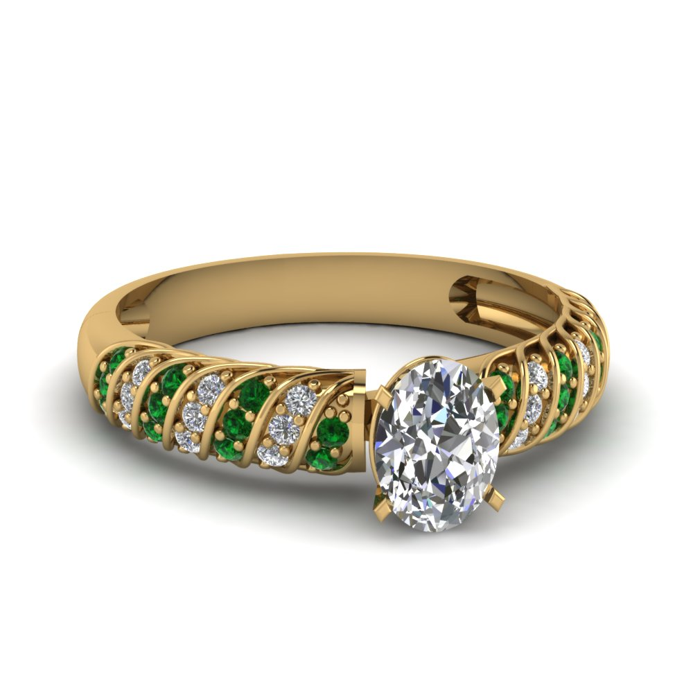 Pave Set Rope Pattern Emerald Ring