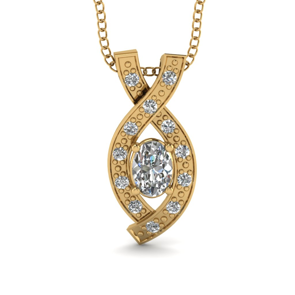 Gold Diamond Pendant Necklace for Women