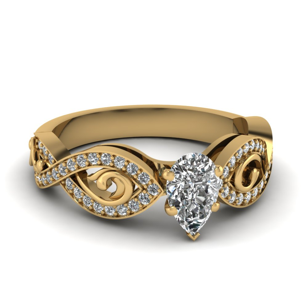 Certified Yellow Gold Pear Diamond Ring