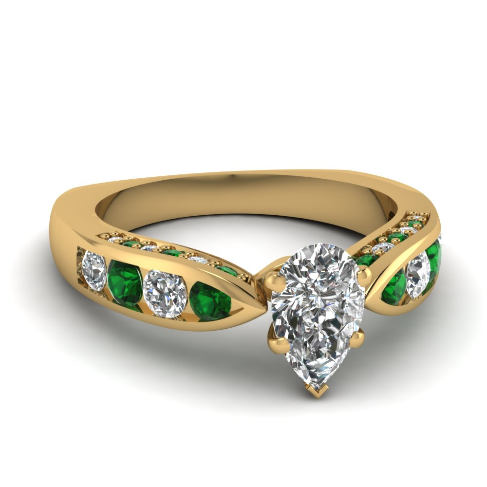 Pave Set Emerald Diamond Ring