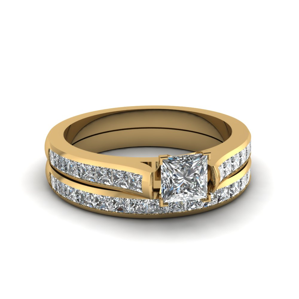 Yellow Gold Channel Set Princess Cut Ring Sets
