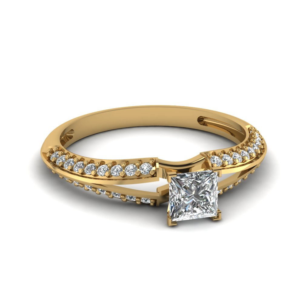 Princess Cut Yellow Gold Diamond Engagement Ring