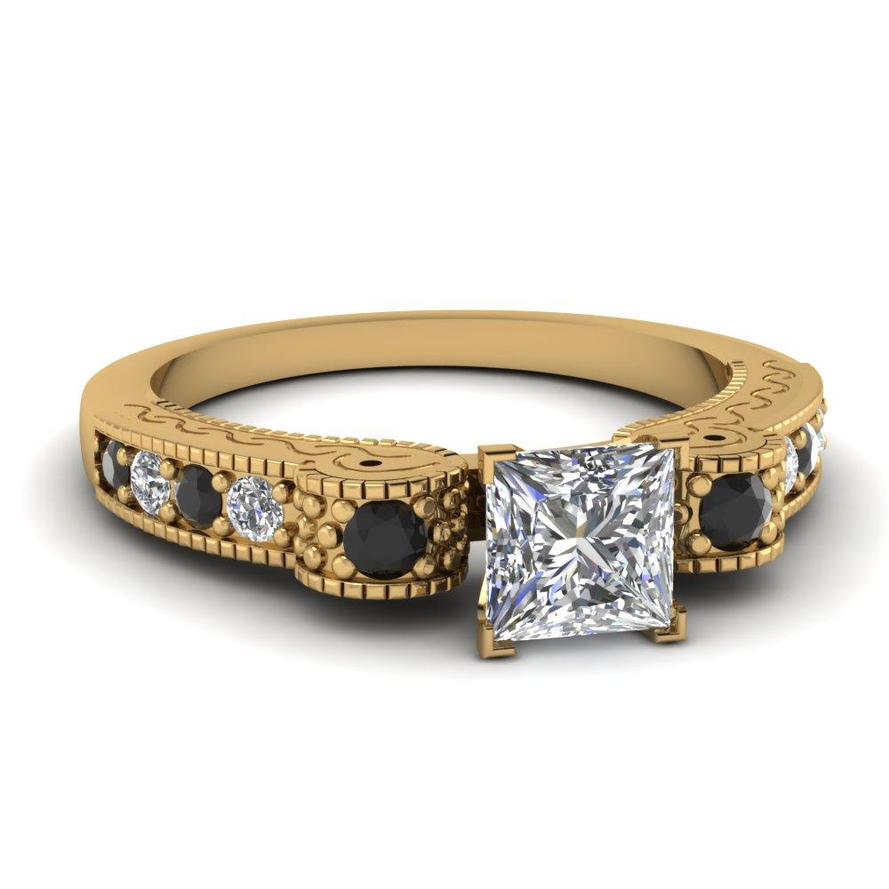 Milgrain Princess Cut Diamond Side Stone Ring