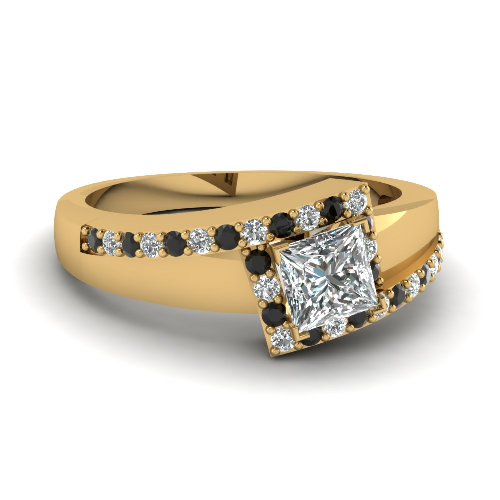 yellow-gold-princess-white-diamond-engagement-wedding-ring-with-black-diamond-in-prong-set-FDENS3166PRRGBLACK-NL-YG
