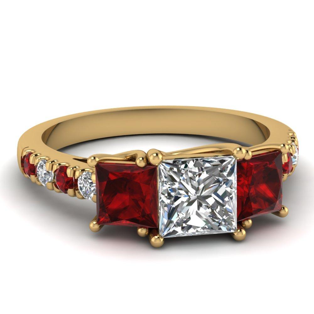 Trellis U prong princess cut 3 stone Accent Ring