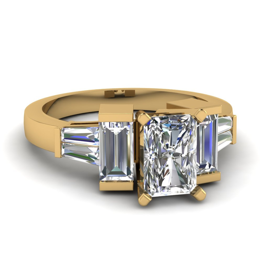 Baguette Accents With Radiant Diamond Ring