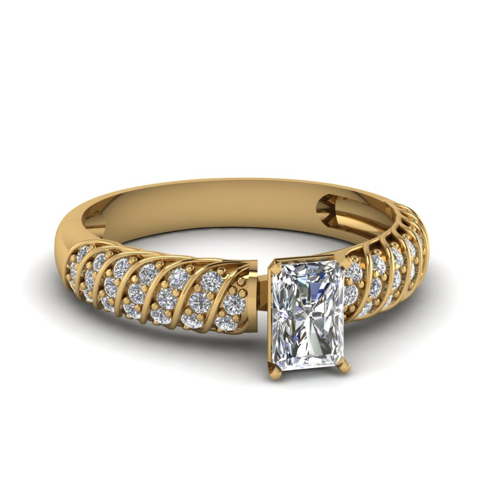 Pave Twist Radiant Cut Diamond Ring