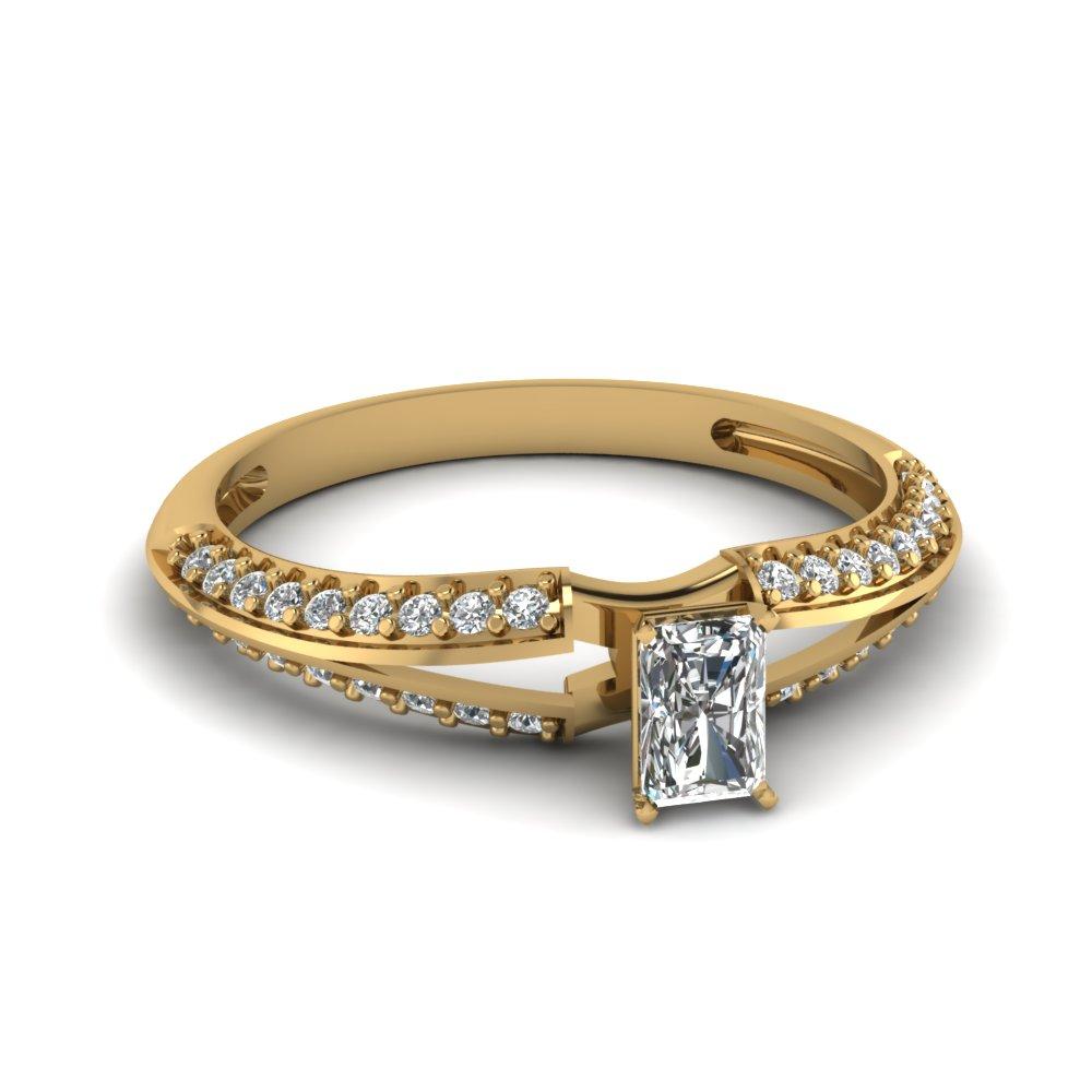 Split Radiant Cut Diamond Engagement Ring
