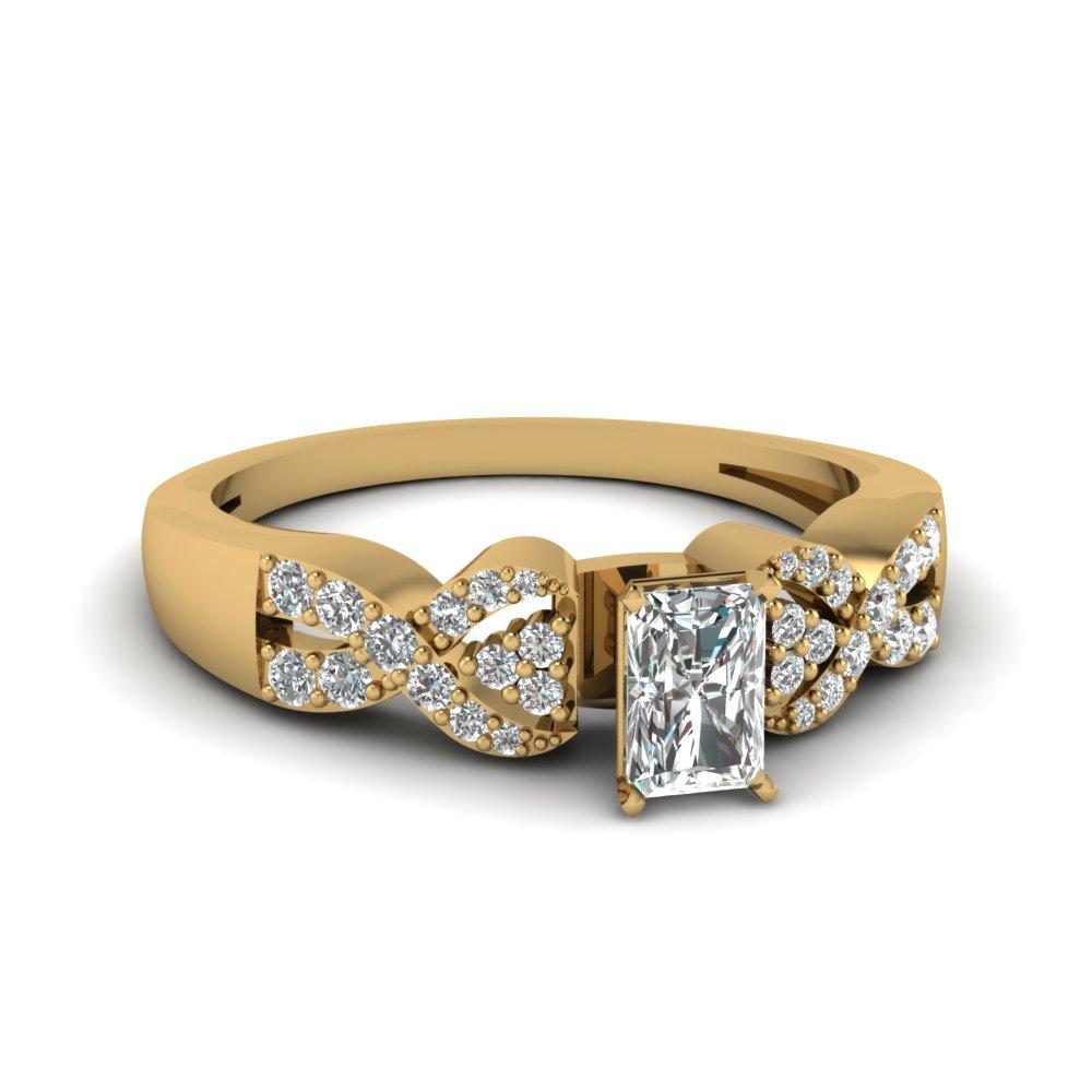 Yellow Gold Radiant Cut Diamond Pave Set Engagement Ring