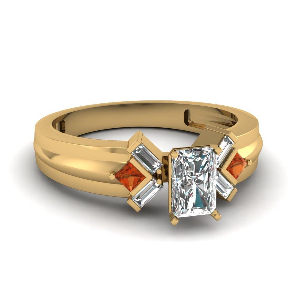 Yellow Gold Princess & Baguette Diamond Ring