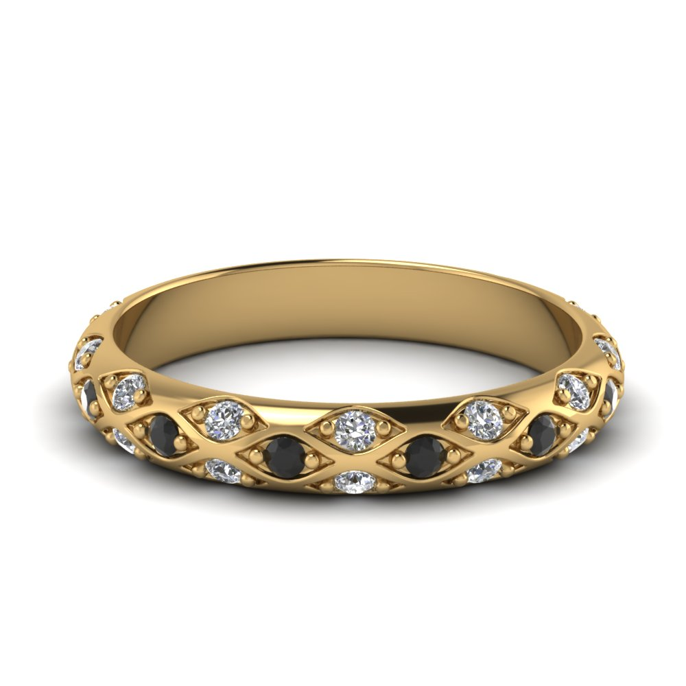 NEW 30 YELLOW GOLD WEDDING BAND WITH BLACK DIAMONDS ... Gold And Diamonds