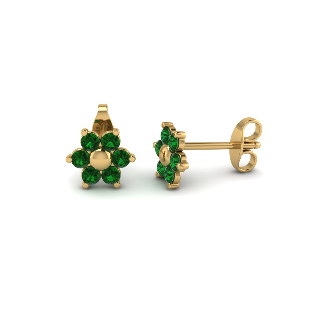 Flower Emerald Stud Earring With Back In Fdear19253gemgr Nl Yg