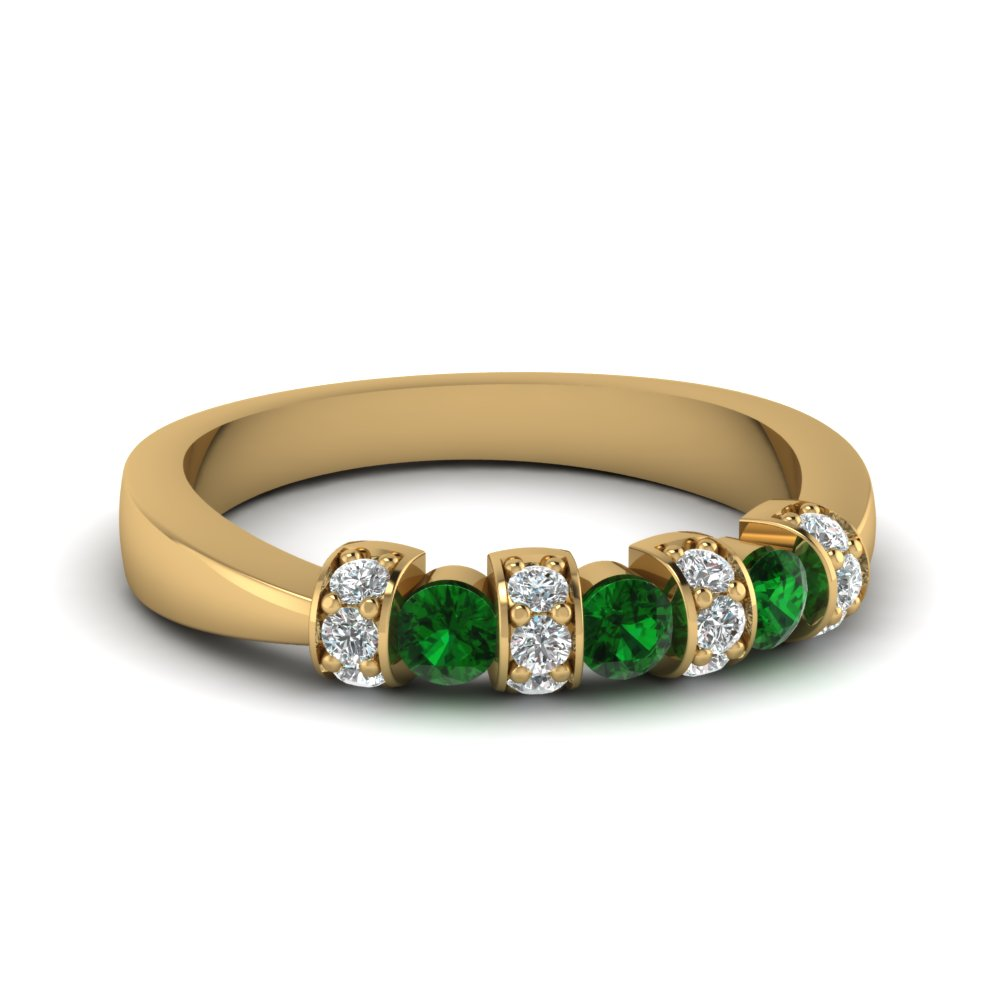 Pave Set Diamonds And Emeralds Yellow Gold Wedding Band
