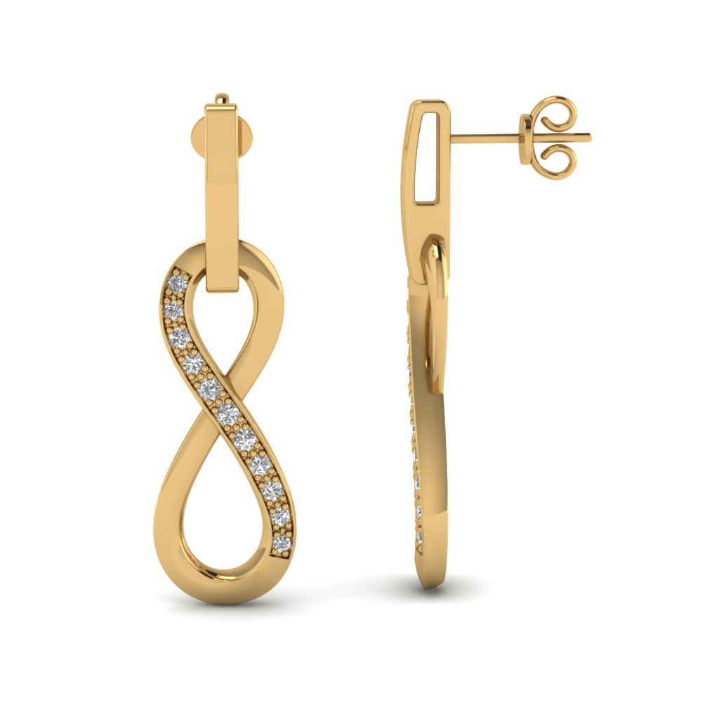 Pave Set Gold And Diamond Infinity Drop Earrings