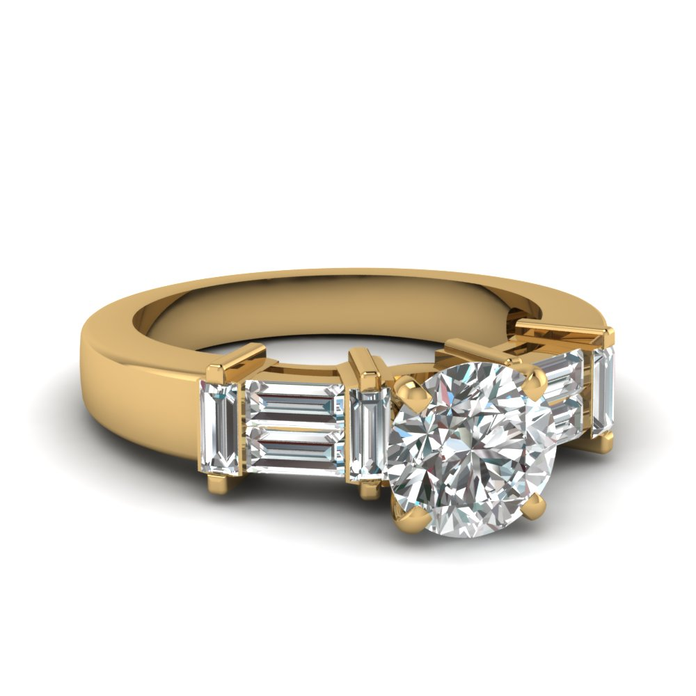Baguette Accents Diamond Engagement Ring