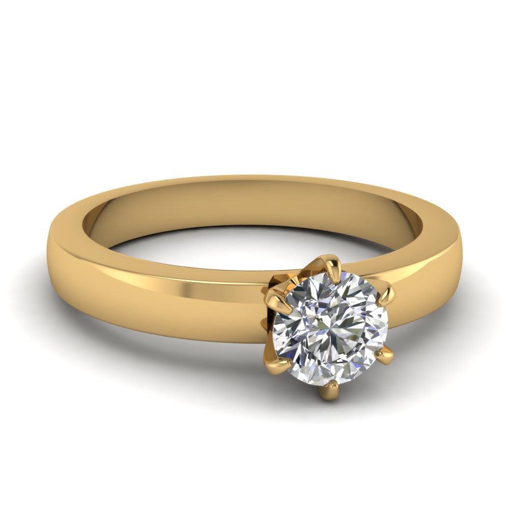 6 Prong Solitaire Round Diamond Ring