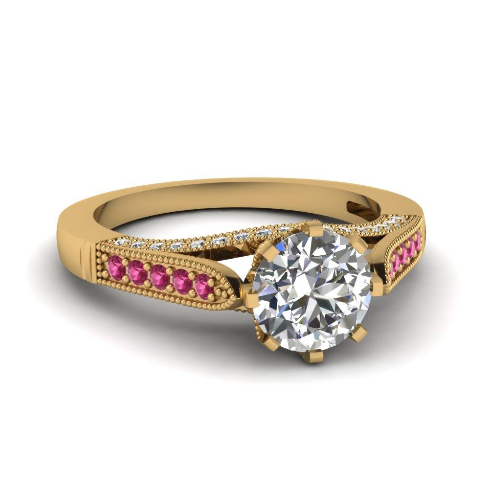 8 Prong High Set Round Diamond Ring