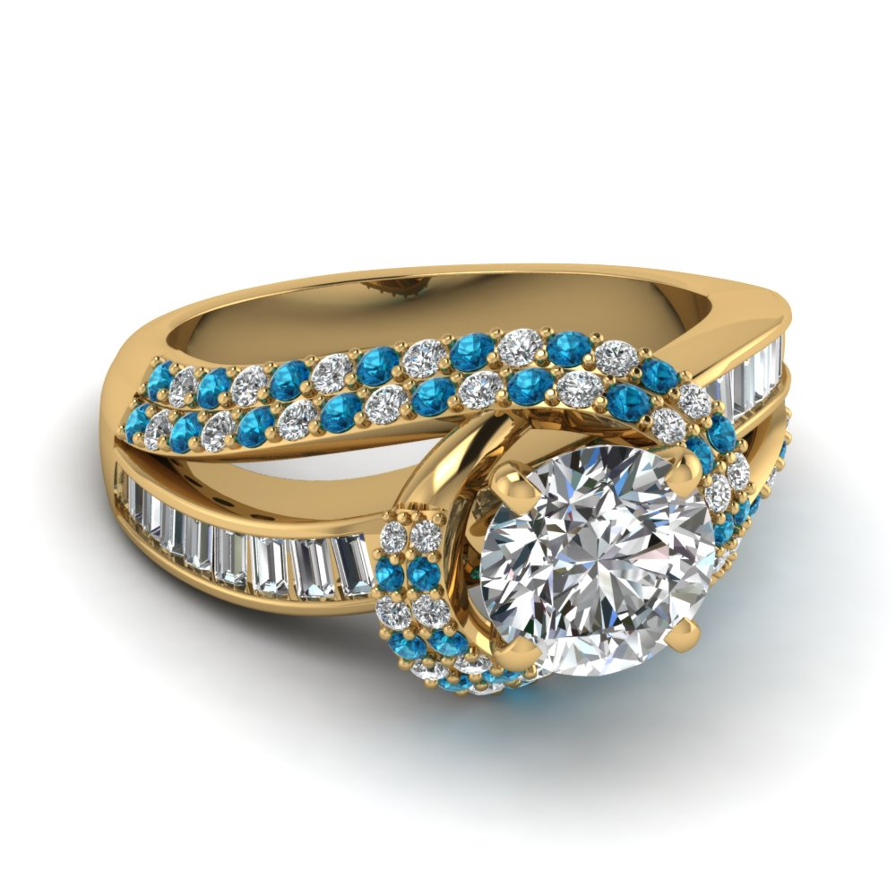 Baguette And Round Diamond Crossover Ring