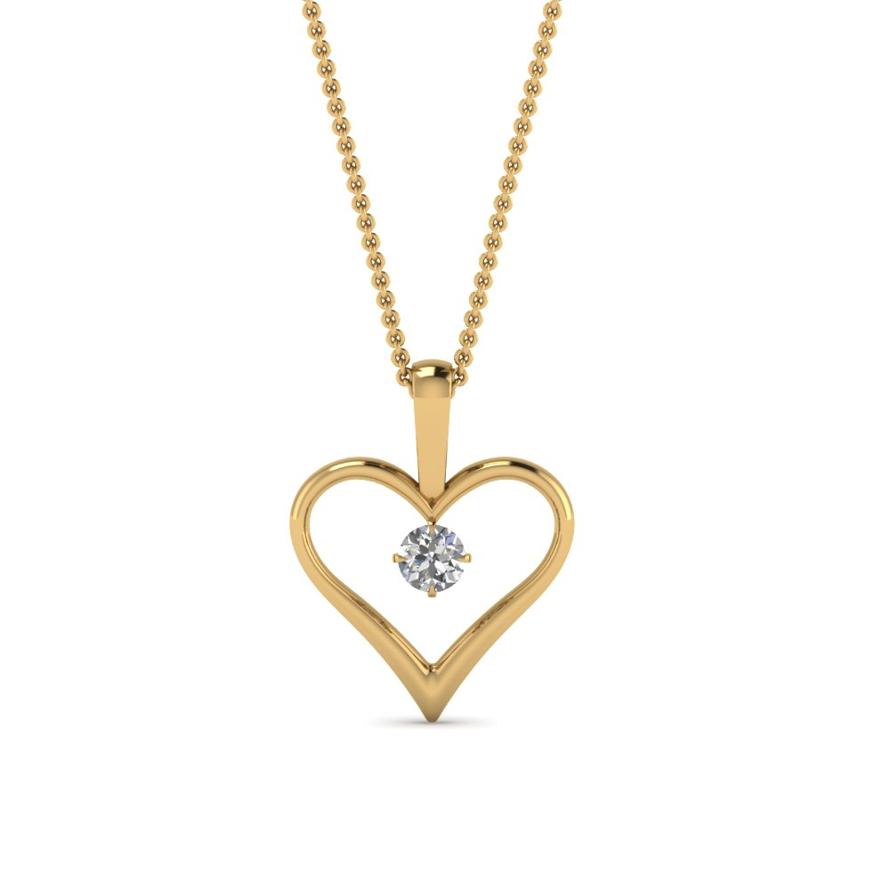 14k Yellow Gold Solitaire Heart Pendant Necklace