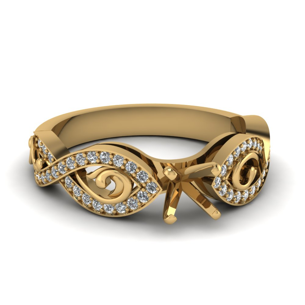 Twist Style Ring Without Center Diamond