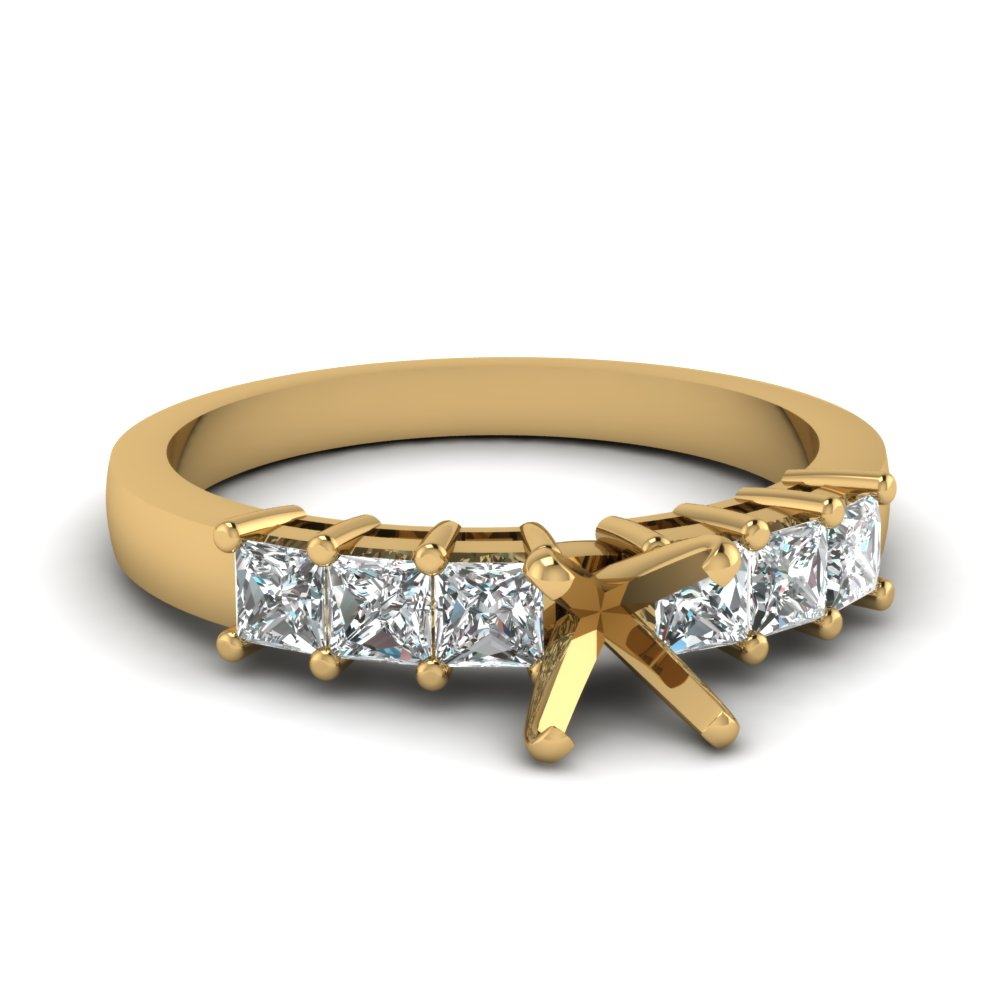 Side Stone Sparkle Engagement Ring Settings In Yellow Gold